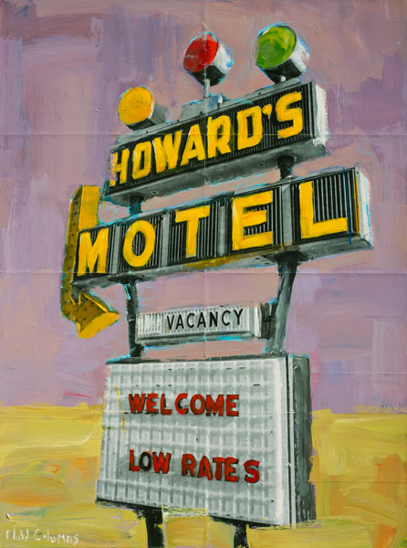 Plaid Columns    Howard's Motel  mixed media on panel 48 x 36 inches $4500