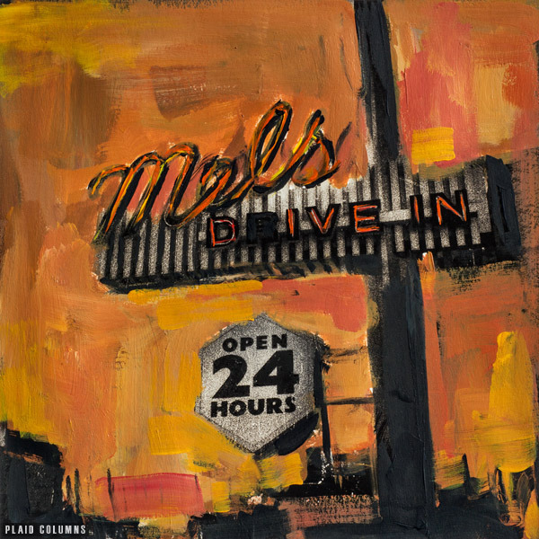 Mel's Drive In<br>mixed media on panel<br>9 x 9 inches