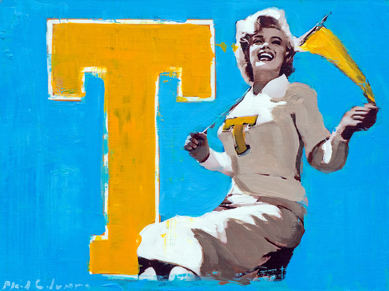 Yea Georgia Tech!<br>mixed media on panel<br>9 x 12 inches