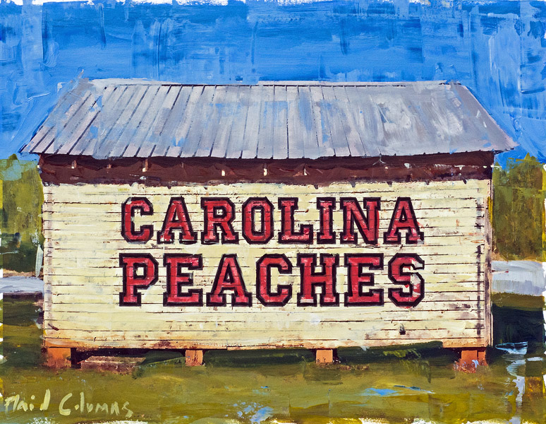 PLAID COLUMNS    Carolina Peaches  mixed media on paper 12 x 16 inches unframed $750 unframed