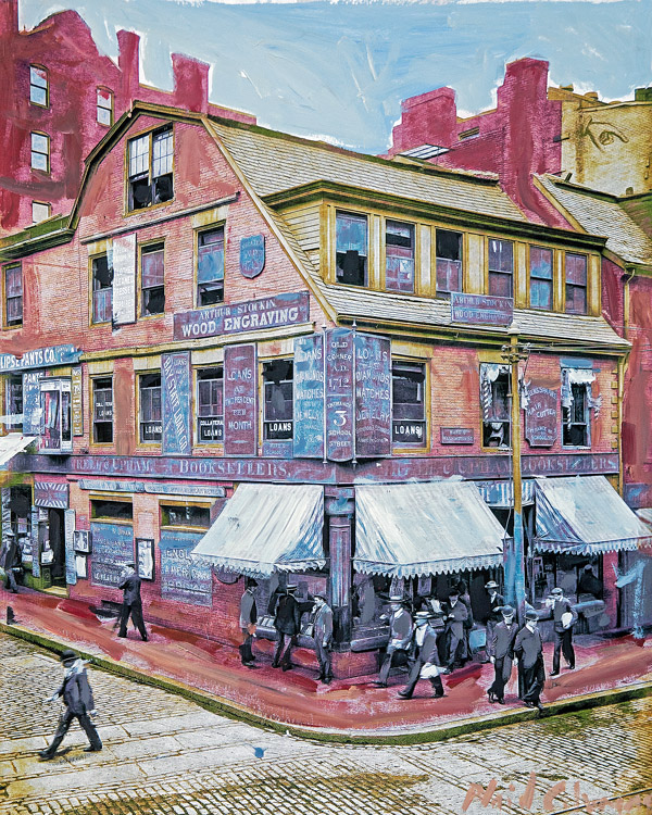 Corner Bookstore<br>Boston, Mass.<br>mixed media on paper<br>19 x 13 inches