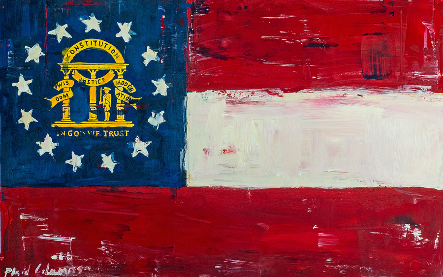 State Flag of Georgia<br>mixed media on paper<br>13 x 19 inches