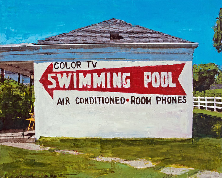 Swimming Pool<br>mixed media on panel<br>24 x 30 inches