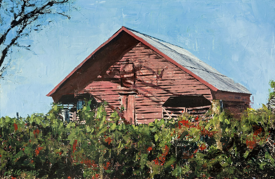 Red Barn on White Oak<br>mixed media on panel<br>30 x 45 inches