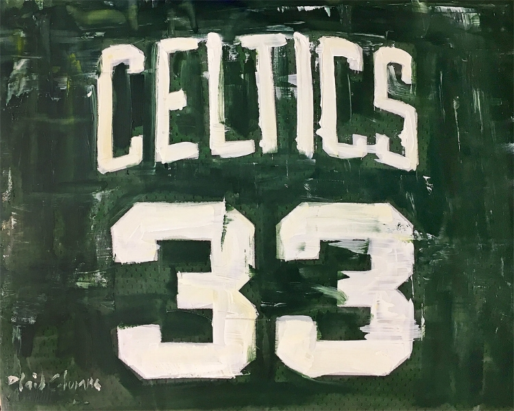Larry Bird<BR>mixed media on panel<BR>16 x 20 inches