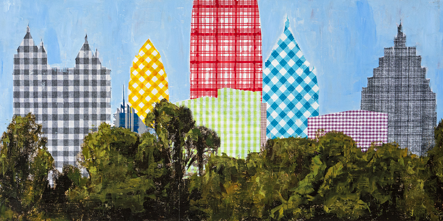 PLAID COLUMNS    Plaid Atlanta  mixed media on panel 30 x 60 inches $4800