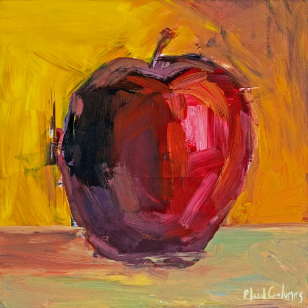 Apple<br>mixed media on panel<br>12 x 12 inches