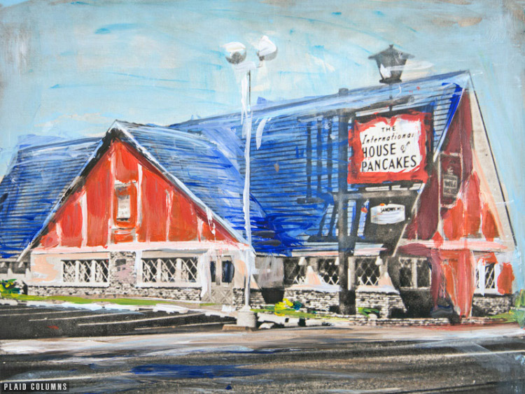 Vintage IHOP<br>mixed media on panel<br>11 x 16 inches