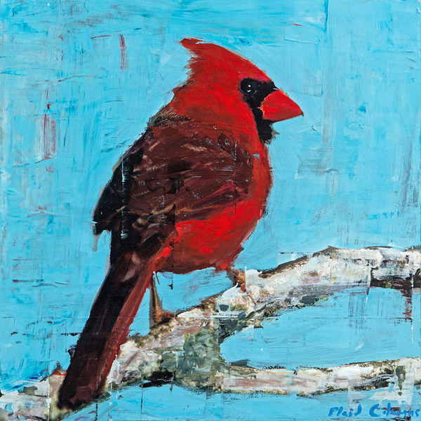 Cardinal<br>mixed media on panel<br>16 x 16 inches
