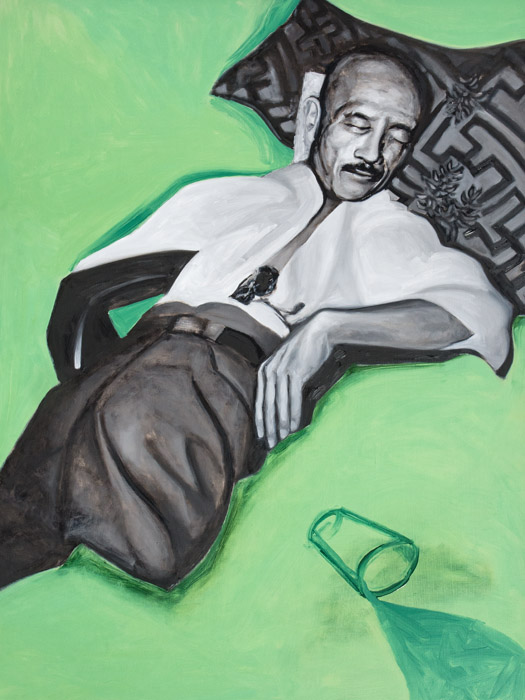 Tojo Spills A Cup Of Water<br>oil on canvas<br>48 x 36 inches