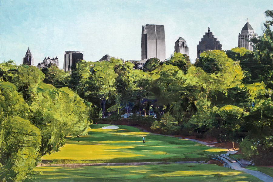 The First Tee<br>Ansley Golf Club<br>mixed media on panel<br>40 x 60 inches