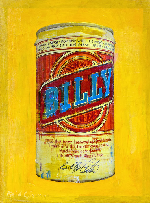 Billy Beer<br>mixed media on panel<br>31 x 23 inches
