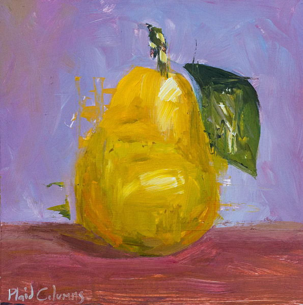 Pear<br>mixed media on panel<br>16 x 16 inches