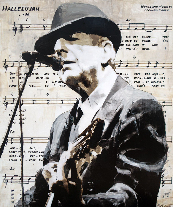 Leonard Cohen<br>mixed media on panel<br>36 x 30 inches