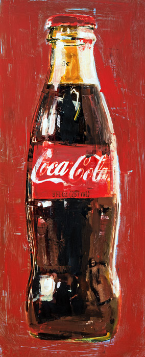 Coke Bottle<br>mixed media on panel<br>29 x 12 inches