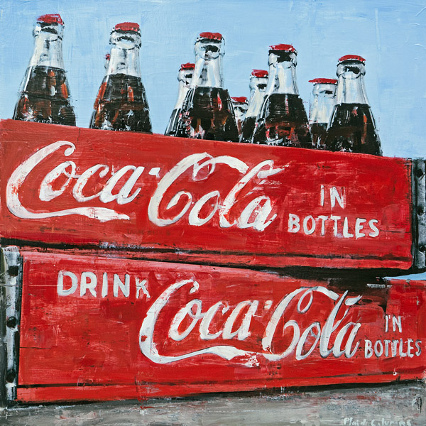 Coca-Cola In Bottles<br>mixed media on panel<br>36 x 36 inches