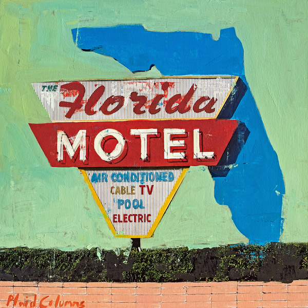 Florida Motel<br>mixed media on panel<br>16 x 16 inches