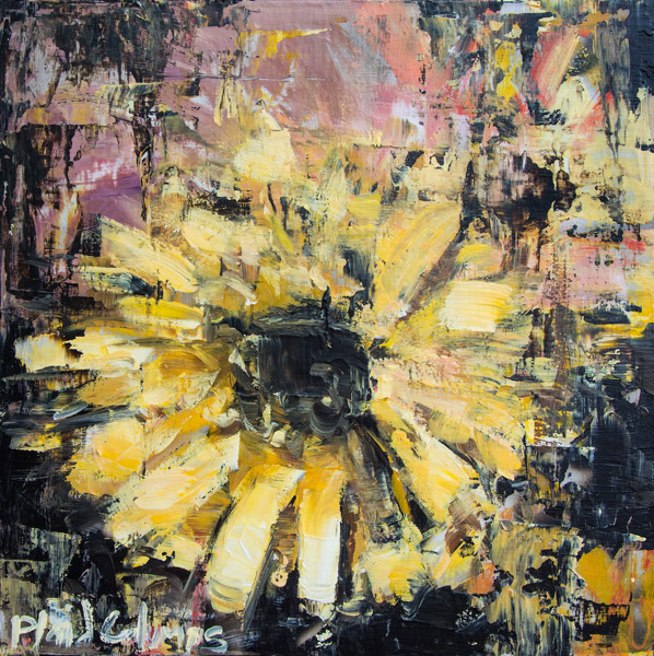 Flowers No. 1<br>mixed media on panel<br>10 x 10 inches