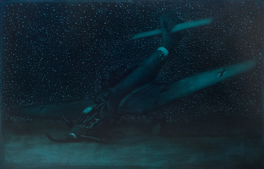 Nocturne With Stuka<br>oil on canvas<br>30 x 47 inches