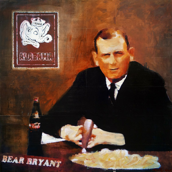 Bear Bryant<br>mixed media on panel<br>36 x 36 inches