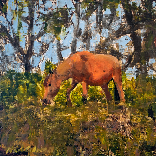 PLAID COLUMNS   Wild Horse on Cumberland Island mixed media on panel 16 x 16 inches $900