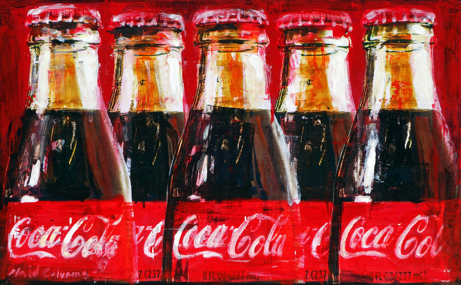 Five Coke Bottles<br>mixed media on panel<br>16 x 25 inches