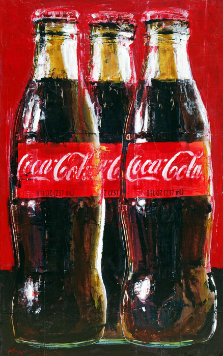 Three Coke Bottles<br>mixed media on panel<br>32 x 20 inches