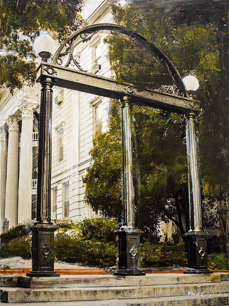 UGA Arch<br>mixed media on panel<br>24 x 18 inches