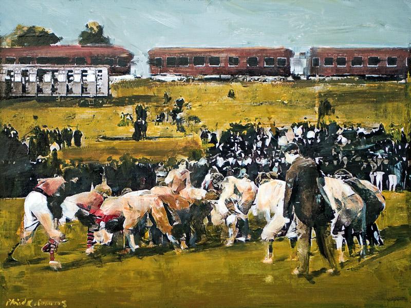 Georgia vs Auburn, 1895<br>mixed media on panel<br>18 x 24 inches