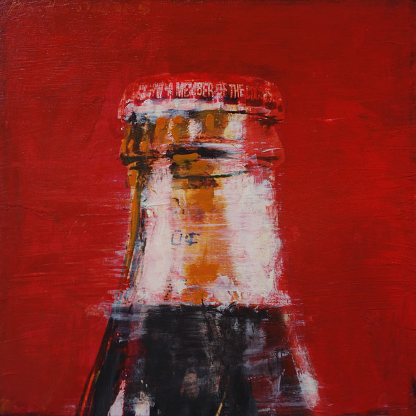 Plaid Columns   Bottle Top  mixed media on panel 12 x 12 inches
