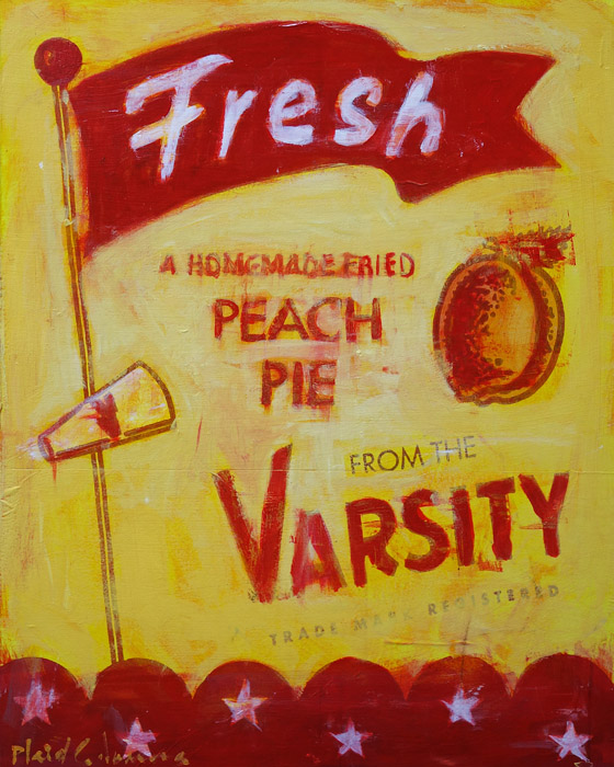 Fresh Peach Pie<br>mixed media on panel<br>20 x 16 inches