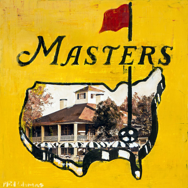 Masters Logo with Clubhouse<br>mixed media on panel<br>18 x 18 inches