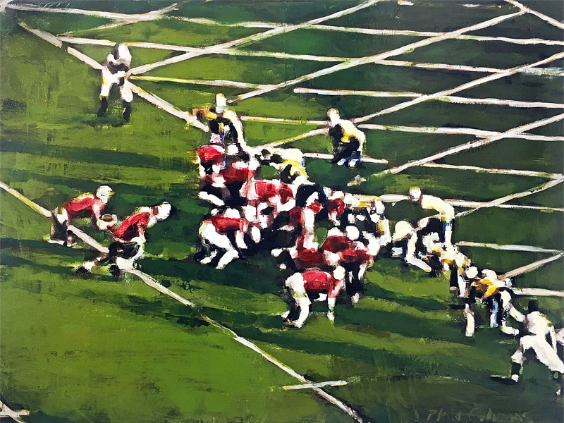 Touchdown Frank Trippi<br>1943 Rose Bowl<br>mixed media on panel<br>18 x 24 inches