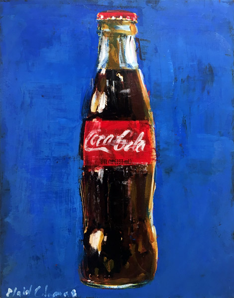 Blue Coke<br>mixed media on panel<br>14 x 11 inches