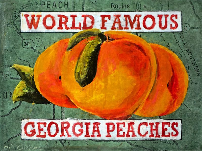 Georgia Peaches<br>mixed media on panel<br>18 x 24 inches