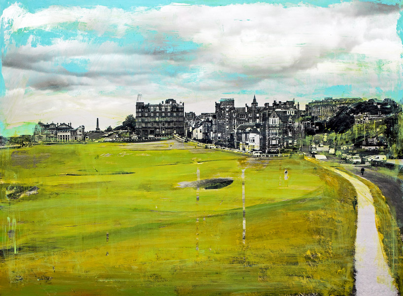 Plaid Columns   The Old Course St Andrews, Scotland  mixed media on panel 22 x 30 inches