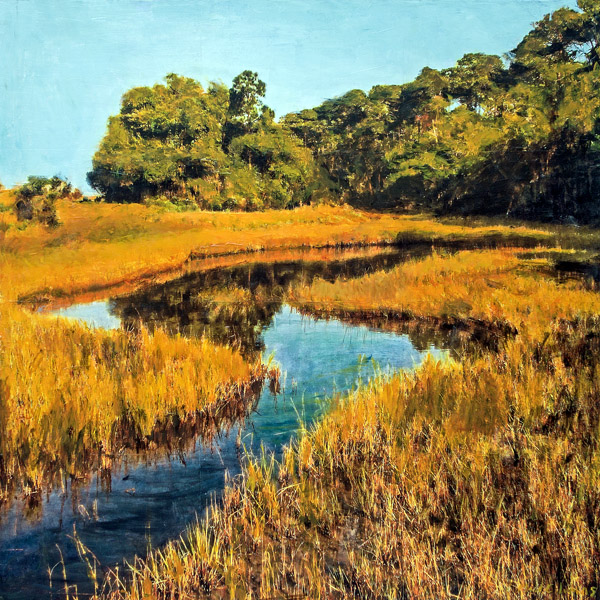 Golden Marsh<br>mixed media on panel<br>48 x 48 inches