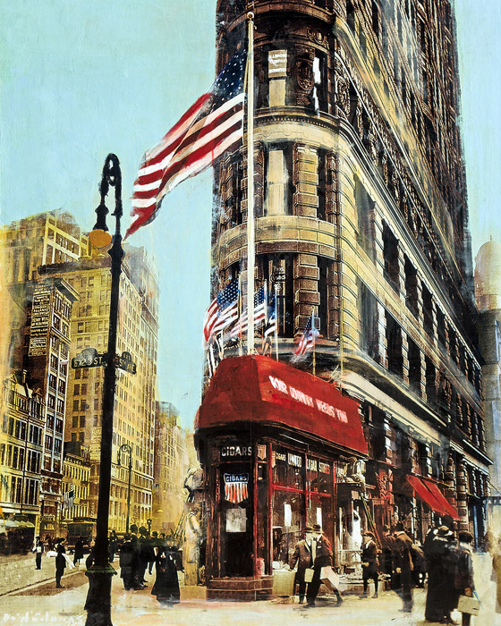Flatiron Cigars<br>NYC<br>mixed media on panel<br>30 x 24 inches
