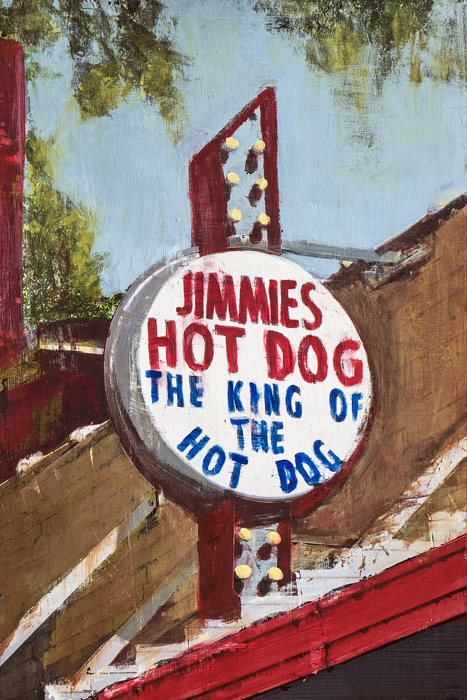Jimmies Hot Dog<br>mixed media on panel<br>18 x 12 inches