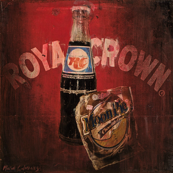 RC Cola & MoonPie<br>mixed media on panel<br>18 x 18 inches