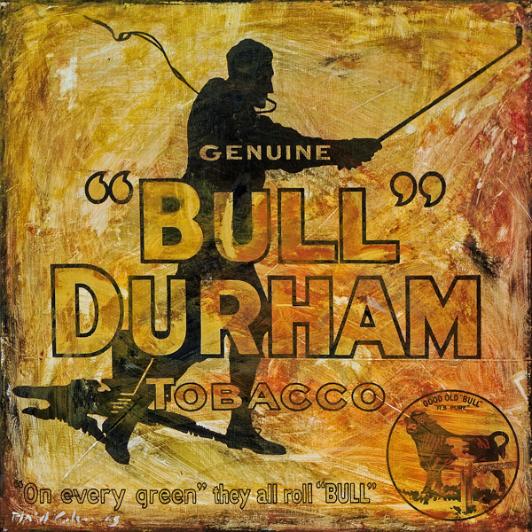 PLAID COLUMNS    Bull Durham  mixed media on panel 18 x 18 inches $1200
