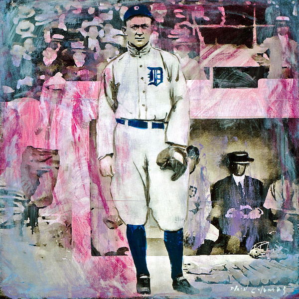 Plaid Columns   Ty Cobb  mixed media on panel 18 x 18 inches