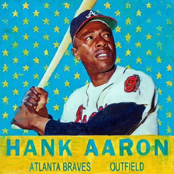 Plaid Columns   Hank Aaron  mixed media on panel 36 x 36 inches