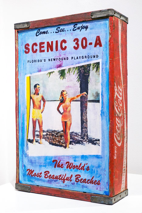 Plaid Columns   Scenic 30-A (Red)  mixed media on coca-cola crate 18 x 13 inches