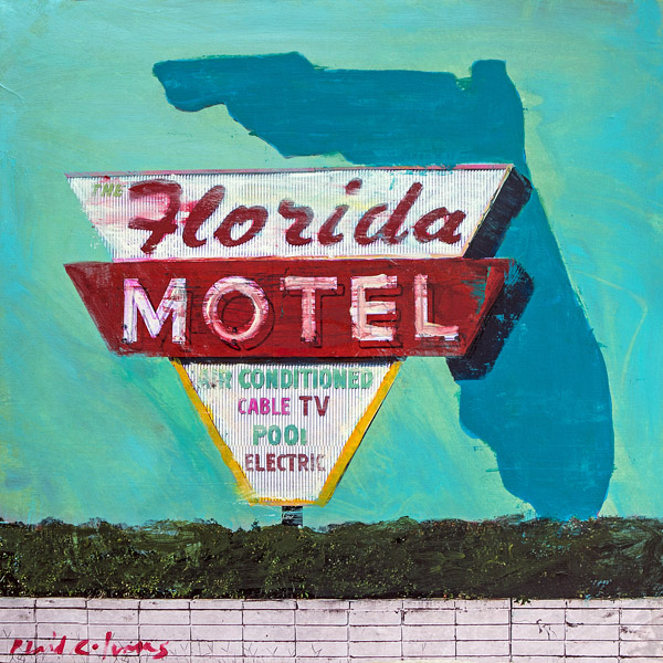 PLAID COLUMNS   Florida Motel mixed media on panel 18 x 18 inches $1200