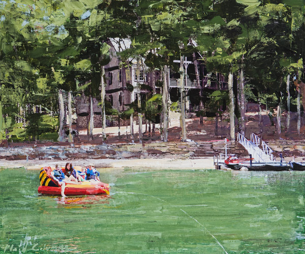 Plaid Columns  Lake Linville No. 2 mixed media on panel 20 x 24 inches    plaid columns home