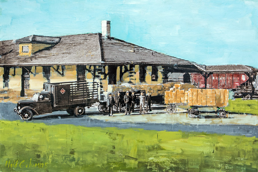 PLAID COLUMNS   J.W. Cook & Men Athens Depot mixed media on panel 24 x 36 inches