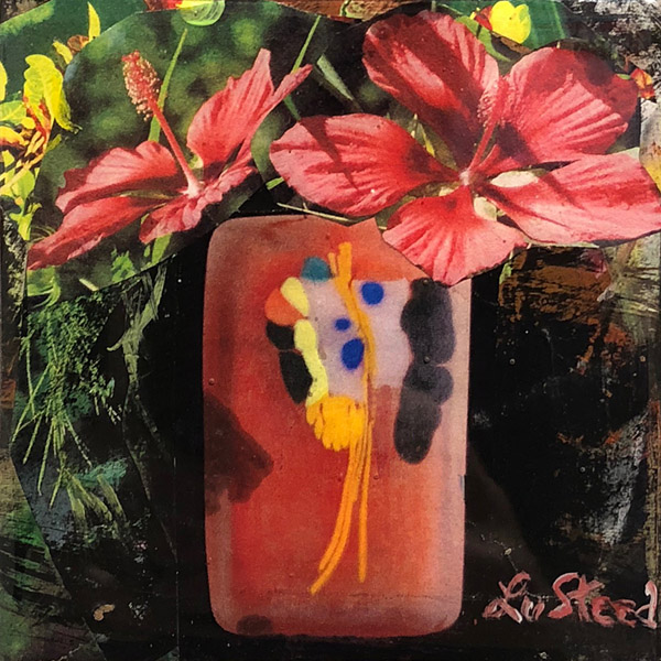 LU STEED  Flowers No. 2 mixed media on panel 4 x 4 inches