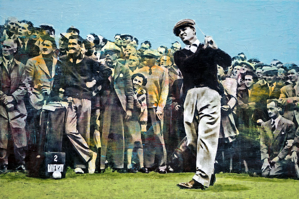 PLAID COLUMNS    Ben Hogan at Carnoustie  mixed media on panel 30 x 45 inches $4000