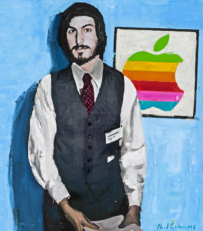 PLAID COLUMNS  Steve Jobs (Detail) mixed media on panel 36 x 48 inches (SOLD)